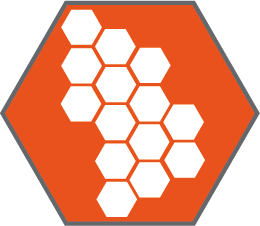 Orange icon showing cell count and structure - a set of hexagons inside a larger hexagon