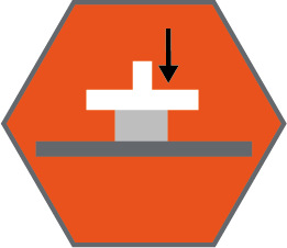 """Compression deflection hardness technical specification icon - arrow pointing to a """"load"""" inside an orange hexagon"""