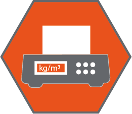 orange icon showing material density being tested in a machine