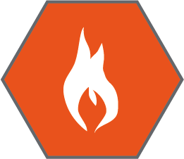 Flammability technical specification icon - white flame icon inside an orange hexagon
