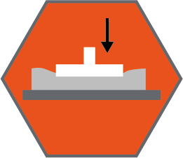 """Indentation Load Deflection hardness technical specification icon - arrow pointing to a """"load"""" inside an orange hexagon"""