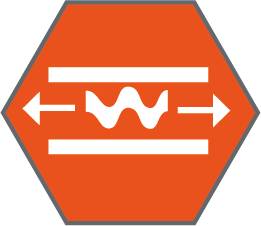 Elongation and tensile strength technical specification icon inside an orange hexagon