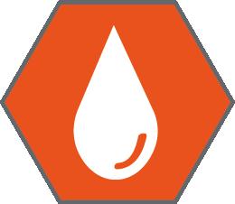orange icon of a water droplet inside an orange hexagon