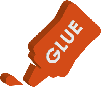 Orange glue bottle icon with glue written on the side