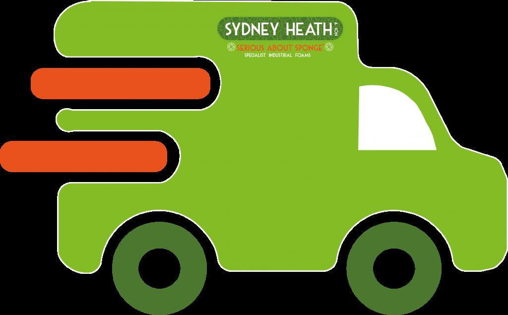 Green delivery van icon